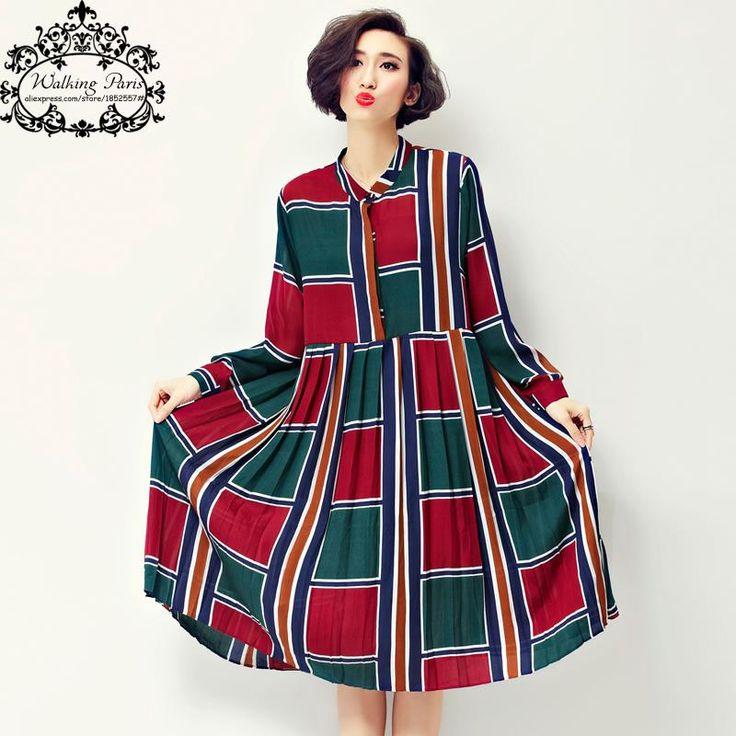 2016 Spring Style Plus Size Chiffon Dress Women Plaid Print Casual Clothing Loose Long Sleeve O-Neck Patchwork European Dress