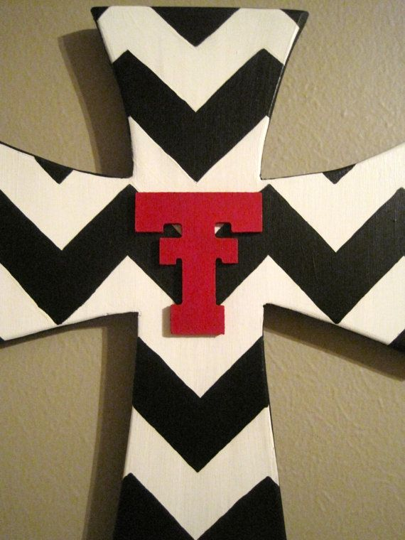 Black & White Chevron Texas Tech Wall Cross by iGottaHaveItAll, $20.00