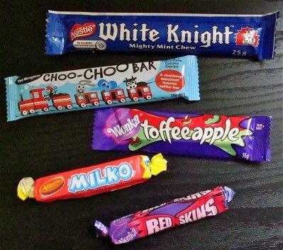 White knights- yum! Choo Choo bars were good for making your teeth black!