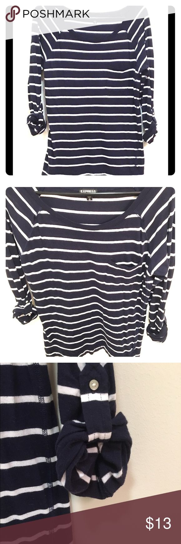 3/4 Sleeve Navy Tee Striped pocket tee with cuffed button sleeve (can unlink to make full sleeve!) Express Tops Tees - Long Sleeve