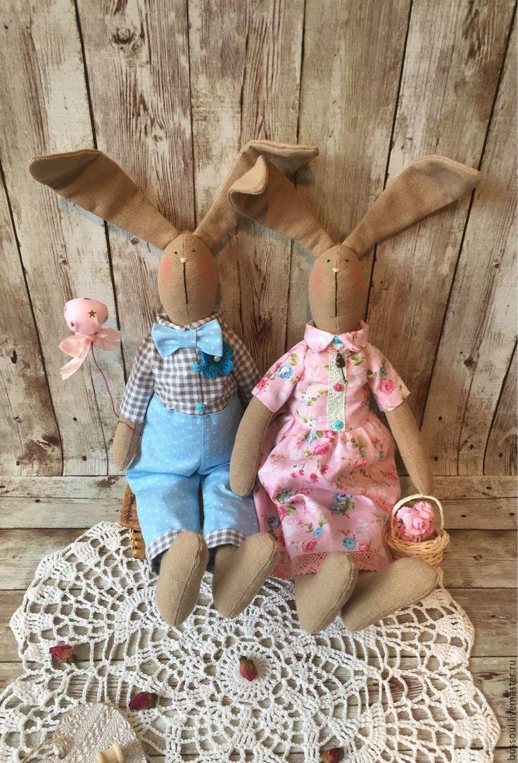 """Купить Тильда заяц, пара """"Весенняя нежность"""" - тильда заяц, тильда зайцы"""