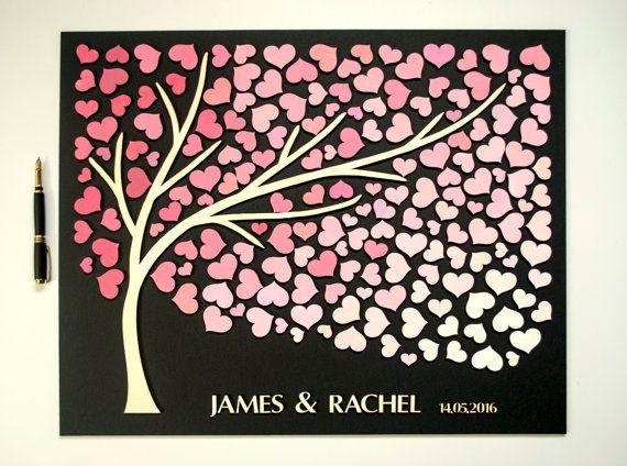 3D bruiloft gast boek alternatieve boom hout aangepaste unieke beoordelingen boek harten rustieke bruiloft rustieke gast boek houten boom boom des levens Gift
