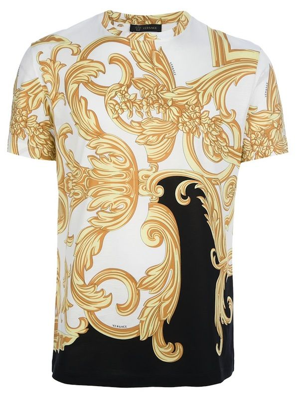 Black and white zebra print cotton t-shirt from versace featuring a round neckline with a contrasting white animal print and a gold-tone baroque-style print at the shoulders and short sleeves. Description from lyst.com. I searched for this on bing.com/images