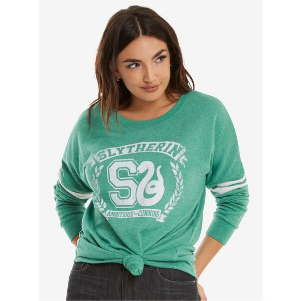 Harry Potter Slytherin Traits Womens Sweatshirt ($40) ❤ liked on Polyvore featuring tops, hoodies, sweatshirts, crew top, warner bros., crew neck top, crewneck sweatshirts and green top