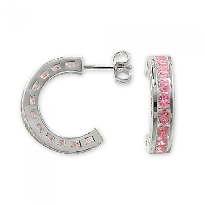 925 SILVER PINK CUBIC ZIRCONIA CHANNEL SET HOOP EARRINGS - Attenborough Pawnbrokers & Jewellers #silver #pink #cubiczirconia #hoop #earrings #jewellery #attenborough #bethnalgreen #london