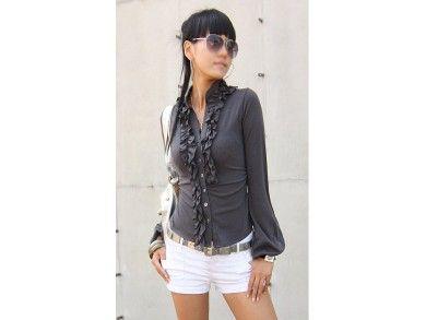 Sydney Shirt.  Bahan: Crystal Cotton  Lebar Bahu: 35 cm  Lingkar Dada: 66 cm  Lingkar Lengan: 40 cm  Panjang Lengan: 62 cm  Panjang Baju: 55 cm  Berat: 0,2 kg