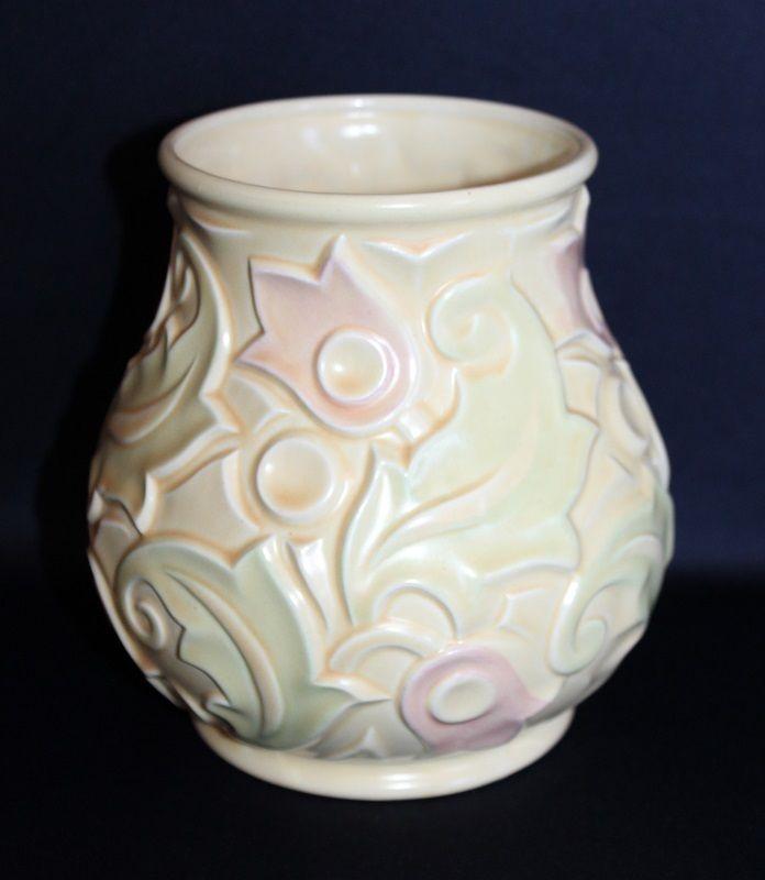 Vintage Wade Heath Relief Worked Vase Gothic Pattern Creamy Yellow Glazes