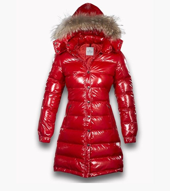 bc795fef7 Cheap Moncler Down Long Red Mock Collar And Fur Cap Women Coats Outlet