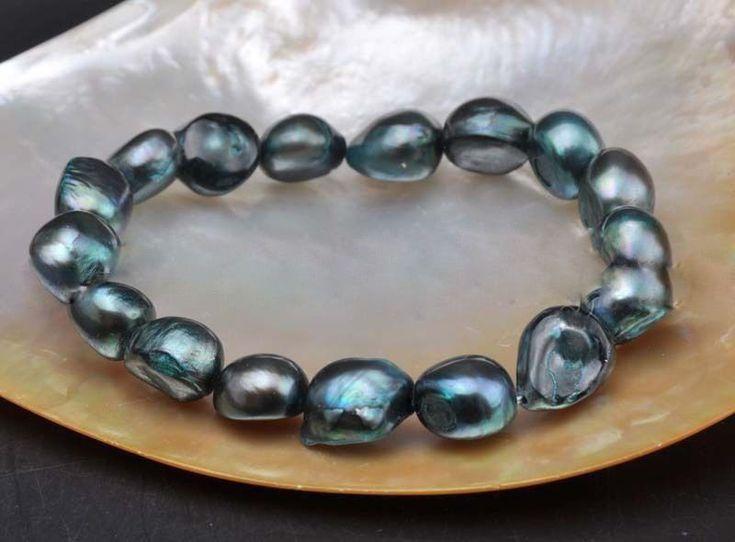 8-9Mm Natural Black Baroque Freshwater Cultured Pearl Stretch Bracelet 7.5''