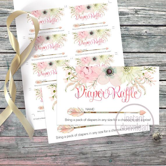 Floral diaper raffle tickets arrow heart by CardaMoonPaperie
