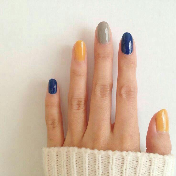 Mustard yellow, navy blue and grey