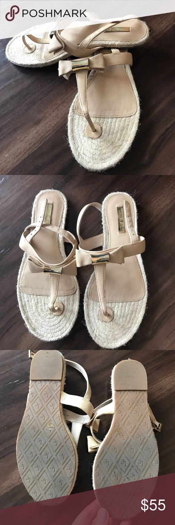 Nude bow Louise et Cie espadrilles flat sandals The perfect summer sandal! Beautiful nude espadrilles sandals with a nude bow and a touch of gold! Purchased these Louise et Cie shoes from Nordstrom. Worn once! Louise et Cie Shoes Sandals