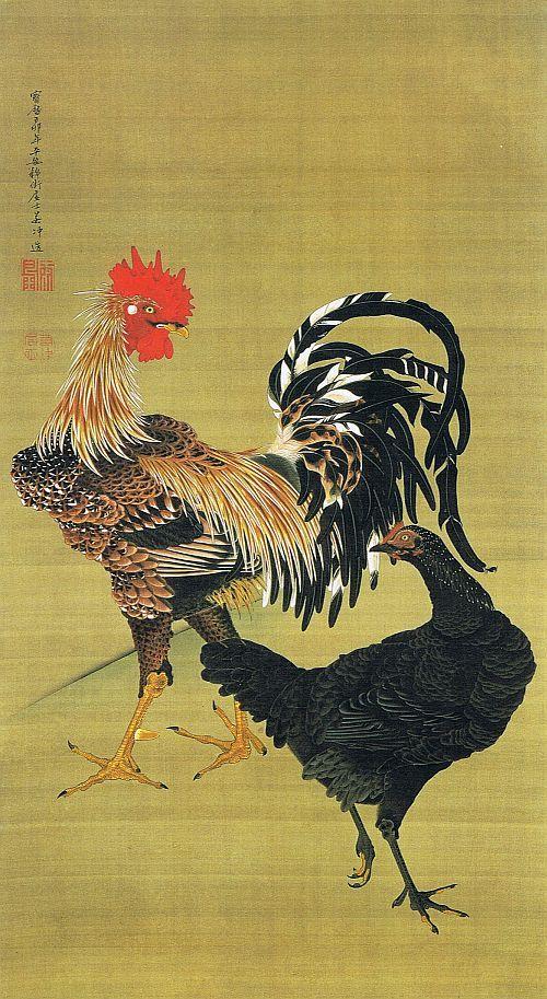 """動植綵絵 07. 大鶏雌雄図[たいけい しけい ず], """"Pictures of the Colorful Realm of Living Beings"""", 1759, Jakuchu Ito"""