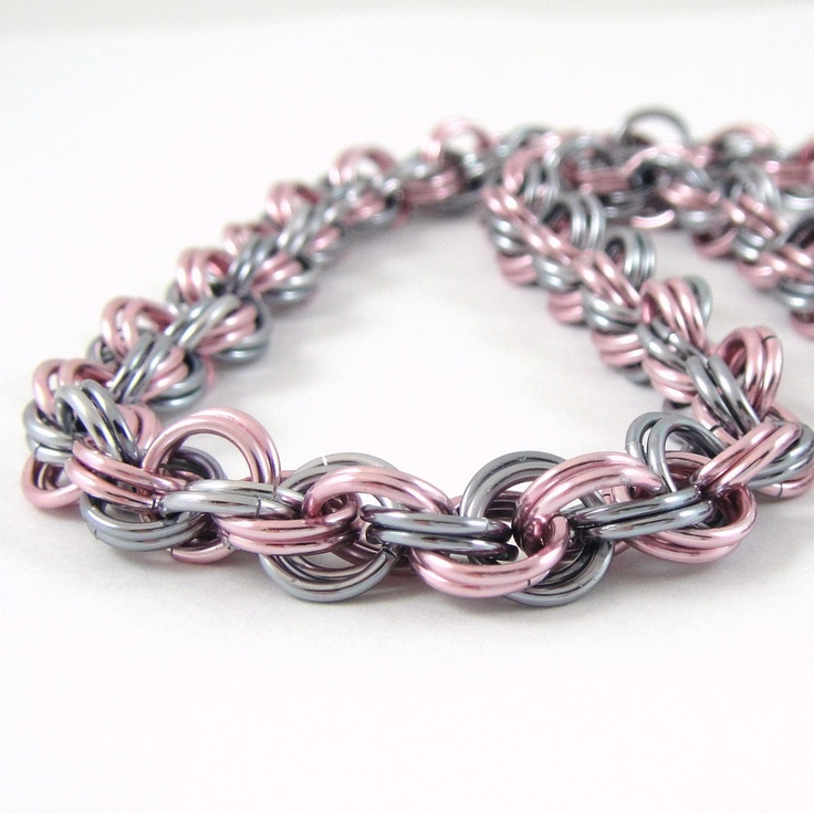 Chainmail Necklace Spiral Weave Pink and Black Ice. $20.00, via Etsy.