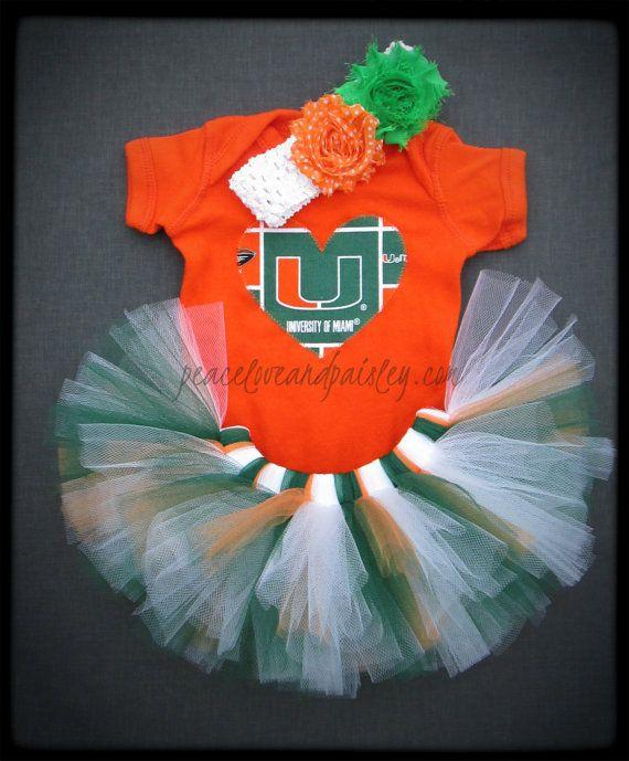 Hurricanes Tutu, Onesie and Headband Set Made from University of Miami Fabric