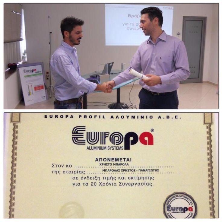 Εικόνα από την στιγμή της βράβευσης της εταιρείας μας για τα 20 χρόνια συνεργασίας με την @europaprofil