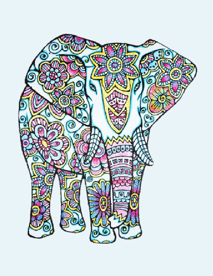 Adult Colouring Page Of An Elephant