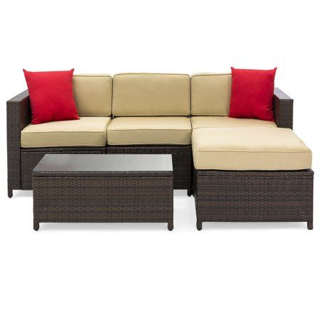 Exceptionnel Best Choice Products 5 Piece Modular Wicker Patio Sectional Set W/ Glass  Tabletop, Removable Cushion Covers   Brown Image 2 Of 6