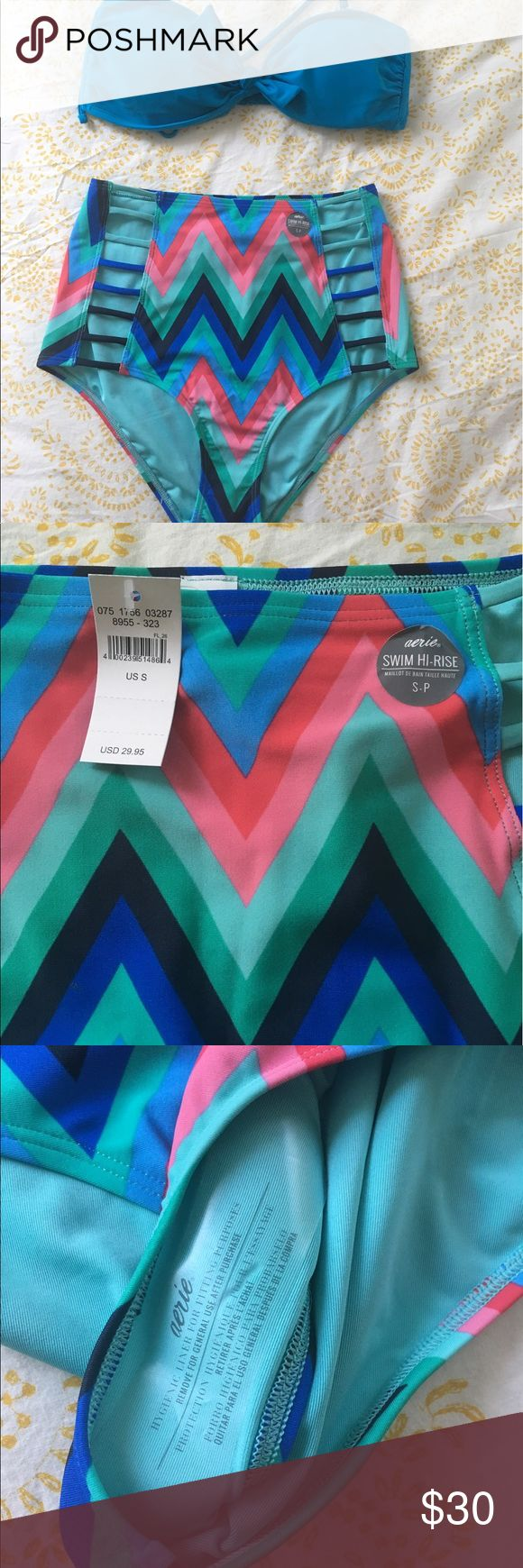 aerie cheveron high waisted swimsuit small. NWT. The perfect high rise swimsuit for a petite babe! Bottom is a small, still has tags and hygienic liner. Never worn. Top is a medium, new with no tags (took them off when I bought it). aerie Swim