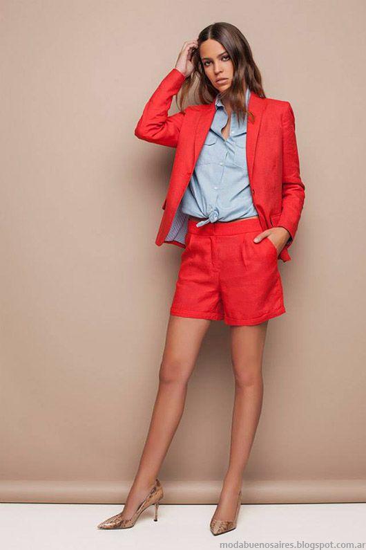 Trajes de mujer con bermudas mas sacos moda elegante 2015, colección Awada.