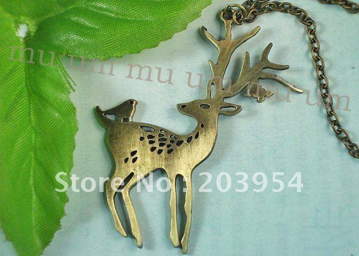 бесплатная доставка! ювелирные изделия, 10 шт, горячий, бронзовых оленей оптовая ожерелье кулон смазливая мода цепи латуни для xmas подарок 2011 k113 999,05