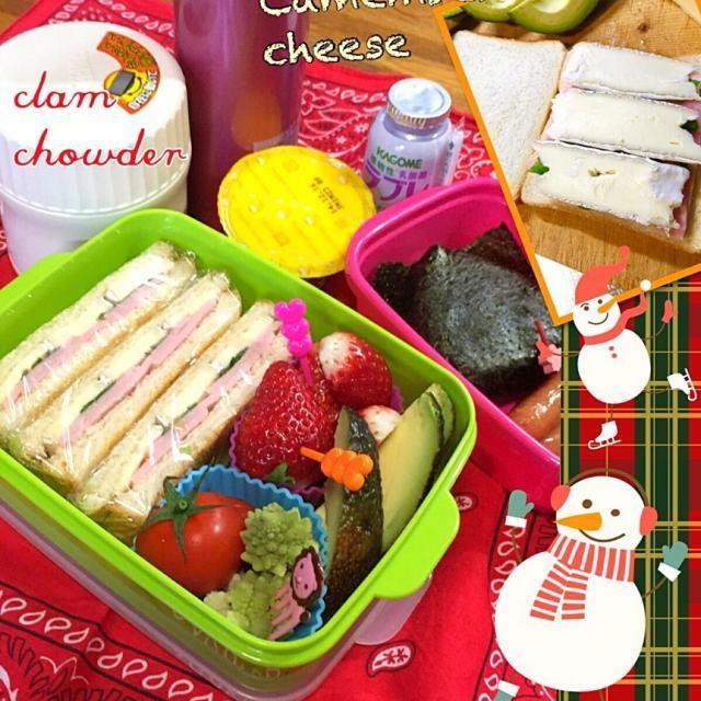 受験生は課外授業! 日曜日でも関係ないわ〜( •́ .̫ •̀, ) 先生方、本当にありがとうございます。(>人<;) 朝からドカ雪、寒いのなんの! こんな日は温かいスープを持たせましょう。クラムチャウダーclam chowderにはセロリの葉とイタリアンパセリを刻んで入れて、牛乳たっぷりで作りました。 サンドイッチは市販の角食をトーストしてから、ハムとイタリアンパセリとカマンベールチーズを挟みました。  寝坊しても朝シャンは外せない女子高生ですので、朝食はお結びとソーセージを小さな容器に入れ、1日分の鉄分が摂れるドリンクヨーグルトと一緒に持たせて…(つД`)ノ  おやつはパンプキンプリンとカ - 34件のもぐもぐ - ハム&チーズサンドイッチと熱々クラムチャウダーのお弁当(⊹^◡^)ノo.♡゚。* by Blueberry
