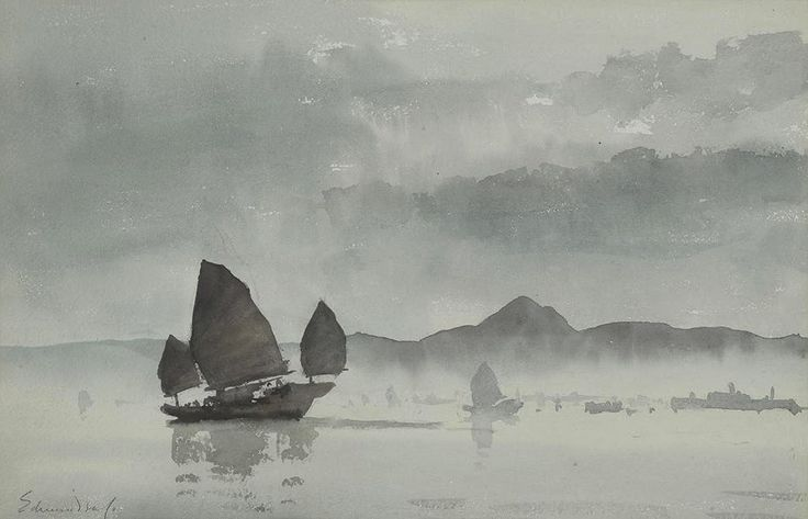 Edward Seago R.W.S. (1910 — 1974, UK) Lifting Fog, Hong Kong. watercolour. 32.5 x 50 cm.