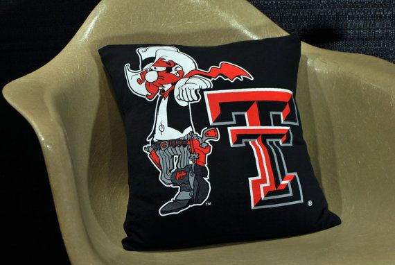 Upcycled T-Shirt Decorative Pillow. Texas Tech. by JSWvintage