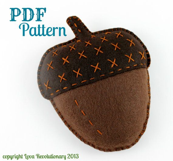 PDF Pattern Felt Acorn Plush Toy Softie Embroidery by lovahandmade / lova revolutionary $6.00