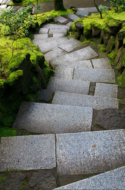 steps at the Portland Japanese Garden in Portland, Oregon in the U.S.  Photo by LaValle Linn.