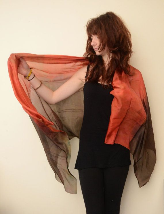 long silk scarf brown and orange EARTH N FIRE Made to by Memzwear, £40.00