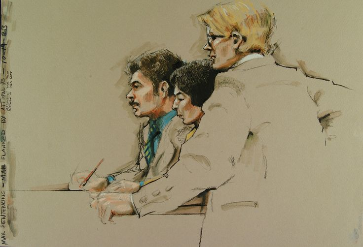 Accused flanked by attorneys at sentencing, courtroom sketch by Butch Krieger - Courtroom sketch - Wikipedia, the free encyclopedia