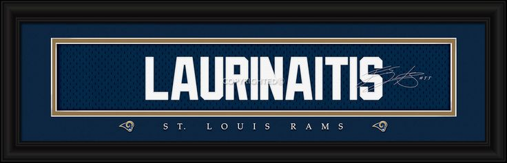 James Laurinaitis St. Louis Rams Player Signature Stitched Jersey Framed Print