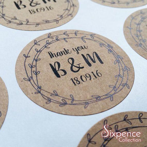 Rustic Kraft Brown Wedding Thank You Favour Envelope Sticker
