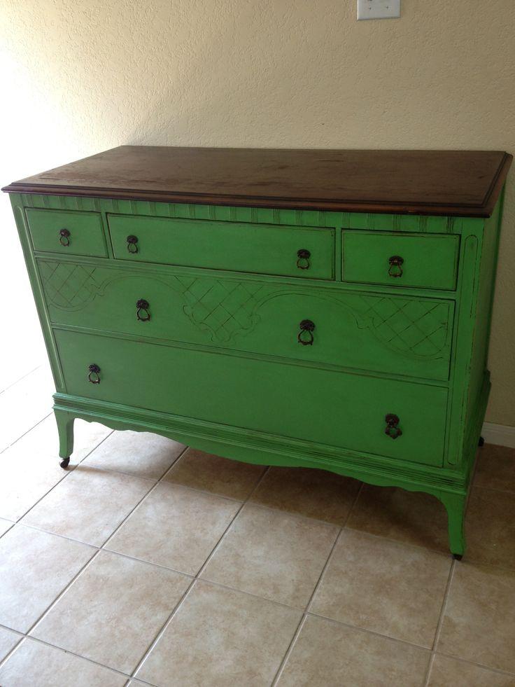 Antique Dresser In Annie Sloan Chalk Paint Antibes Green W