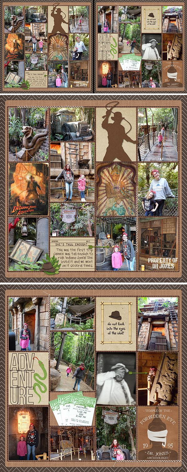 How to make scrapbook using illustration board - Indiana Jones Scrapbook Layout Using Sahlin Studio Project Mouse Adventure Bundle Indy Silhouette From Adventure