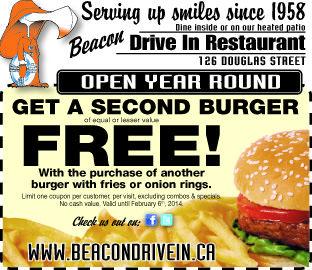 Second Burger free. Print this coupon off of facebook. #beacondrivein, #softserveicecream, #burgers, #yyj, #shakes, #icecream, #servingupsmiles #openyearround #treats