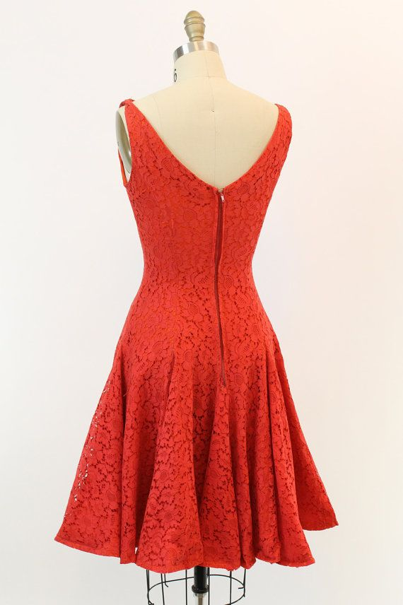 50s Red Lace Cocktail Dress Small / 1950s Full by CrushVintage