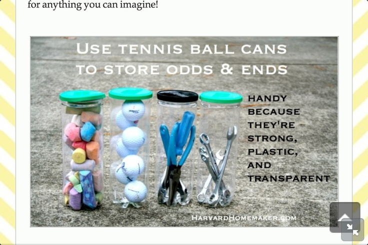 Tennis balls containers can be reused for all sorts of