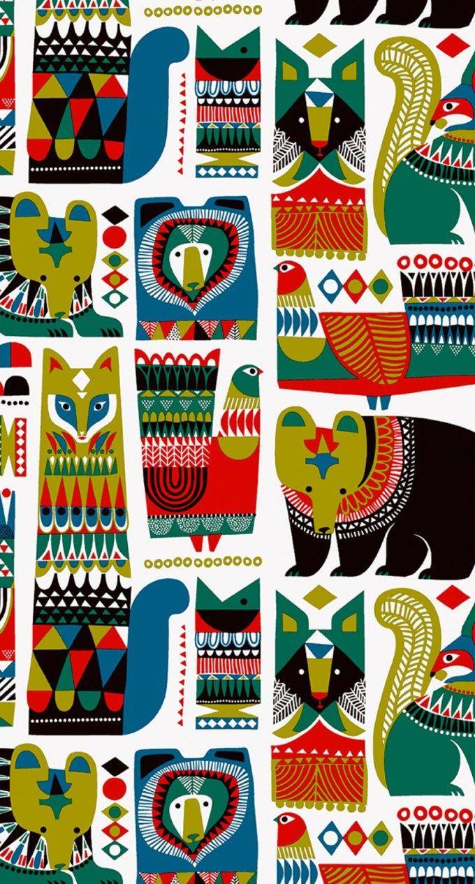 マリメッコ/動物 iPhone壁紙 Wallpaper Backgrounds iPhone6/6S and Plus Marimekko iPhone Wallpaper – Hanna Pulkkinen