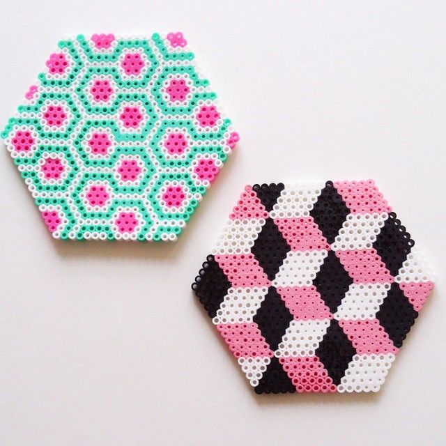 Coasters hama perler beads by julyandjuly  I never would've thought about this!