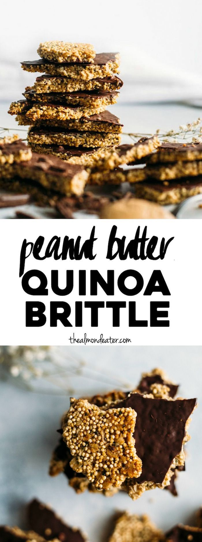 Peanut Butter Quinoa Brittle | A healthy snack packed with quinoa, superfoods and PEANUT BUTTER! | http://thealmondeater.com