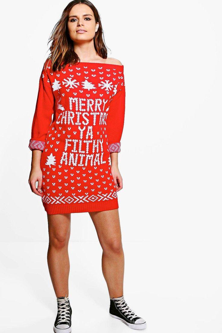 Lacey Slash Neck Filthy Animal Christmas Jumper Dressalternative image