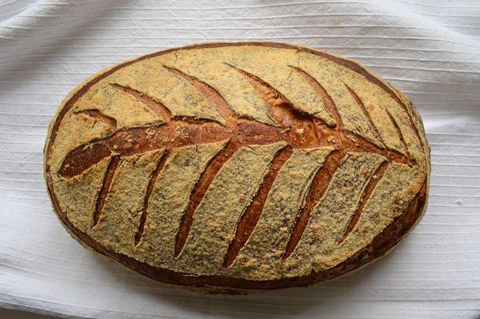 Beautiful fern / leaf scoring on loaf