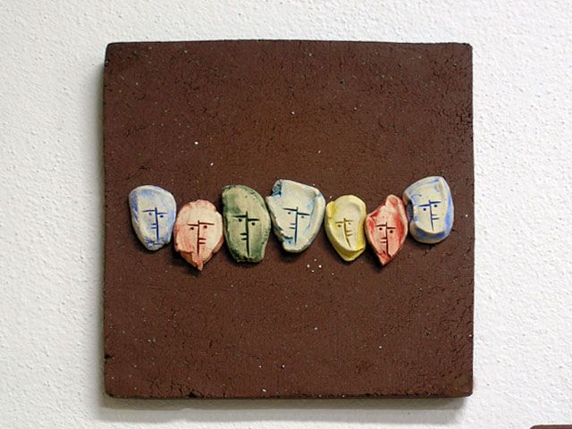 """""""People"""". Stoneware plaque for the wall."""