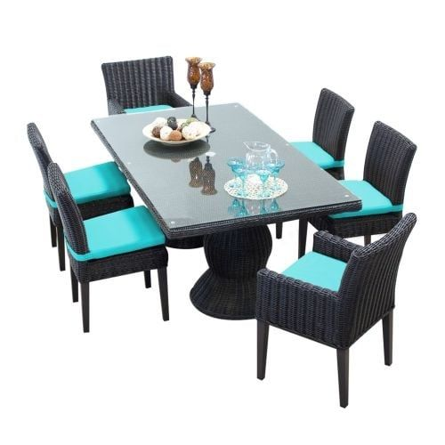 Miseno MPF-VNCERECTKIT4ADC2DCC Mediterranean 7-Piece Aluminum Framed Outdoor Dining Set with Glass Tabletop and both Arm and (
