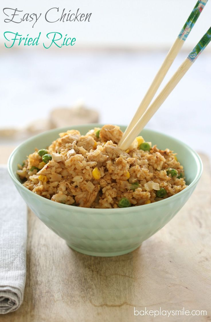 A quick and easy Chicken Fried Rice recipe using leftover roast chicken.