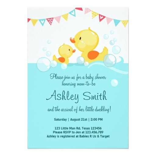 414 best duck birthday party invitations images on pinterest duck baby shower invite rubber duck duckling stopboris Image collections