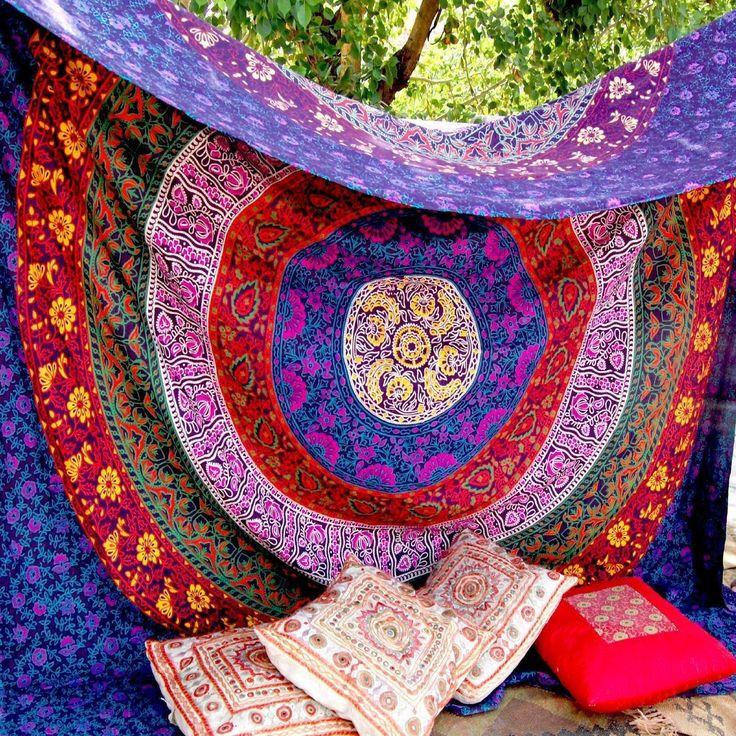 Bunt, mit Mandala-Motiv, zum Aufhängen, indische Boho Bohemian Bettüberwurf, Baumwolle, Wohnheim Mandala, Dekor Strand Decke: Amazon.de: Küche & Haushalt