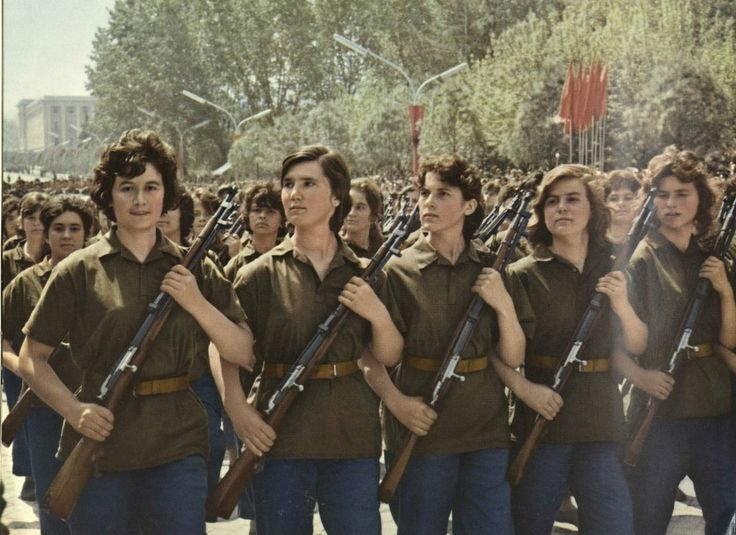 Female soldiers of the Albanian People`s Army on parade.